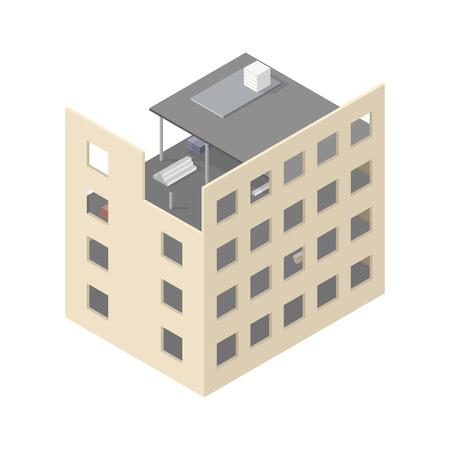 house under construction: New isometric house under construction isolated on white background