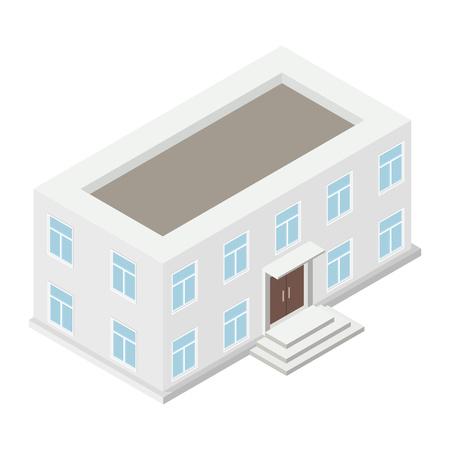local government: Architecture isometric house isolated on white background