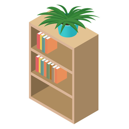 bibliography: Bookcase isometric 3d icon isolated on white background
