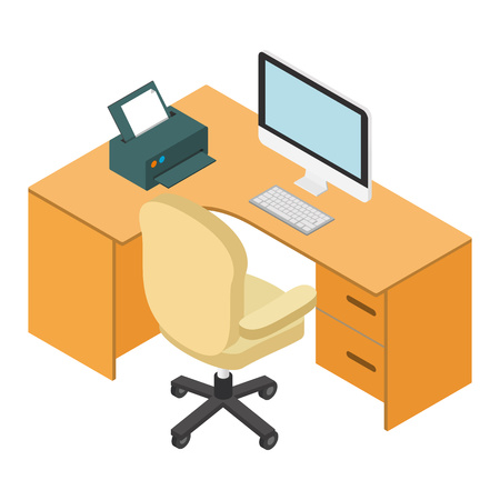 computer desk: Computer desk workplace isometric 3d isolated on white background