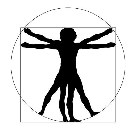 白い背景に分離された Vetruvian 男のシルエット  イラスト・ベクター素材
