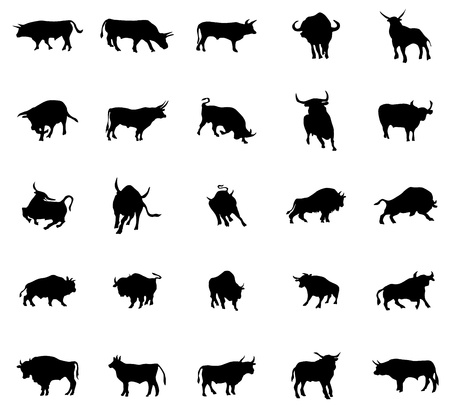 bullfighter: Bull silhouettes set isolated on white background