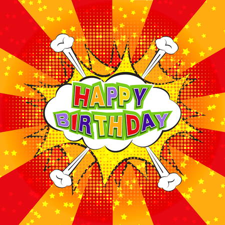 Happy Birthday sign. Congratulations concept in comics style