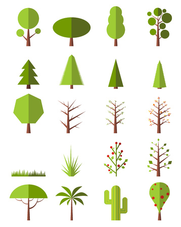 green brown: Flat trees set isolated on white background
