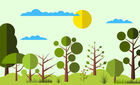 cartoon mushroom: Summer forest flat background. Simple and cute landscape for web and mobile devices