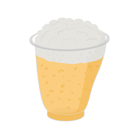 oktober: Beer in plastic cups in cartoon style isolated on white Illustration