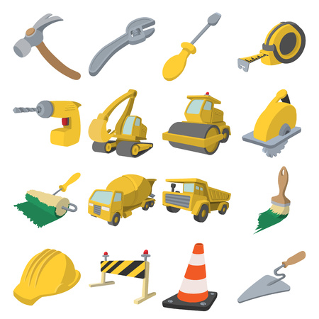 steamroller: Construction cartoon icons set isolated on white background