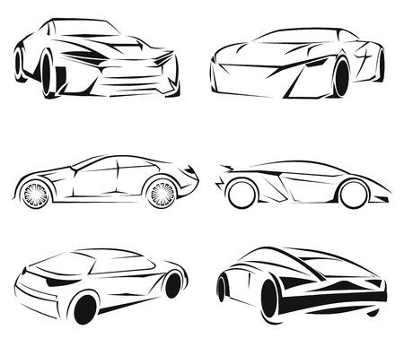 lifelike: Car silhouettes set isolated on white background