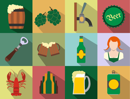 guinness: Beer flat icons set isolated on white background