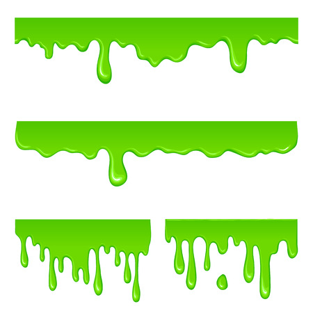 New green slime set isolated on a white