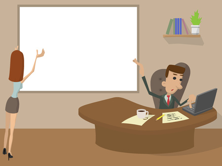 tired person: Office Working cartoon concept. Man and woman holding a white rectangle for text or logo