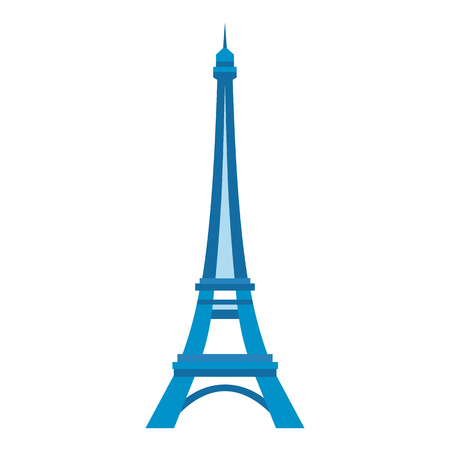 tower: Eiffel tower in Paris on flat style isolated on white background