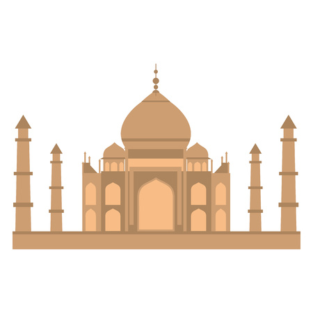 india: Taj-mahal temple in flat style isolated on white background Illustration