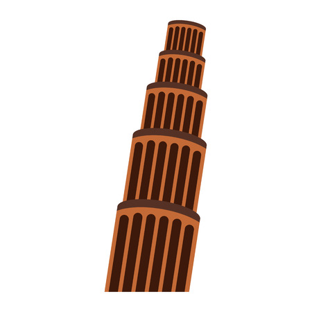 The Leaning Tower in Pisa. Flat style