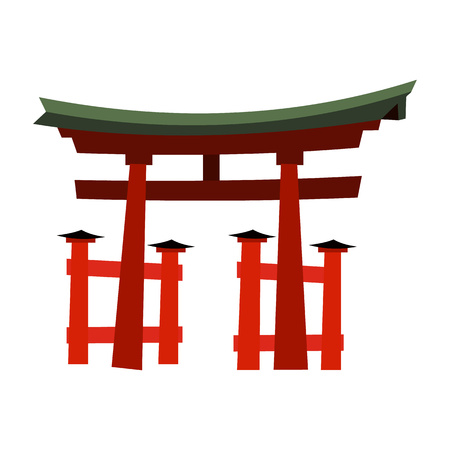 natural arch: Japan Gate - Torii gate in flat style