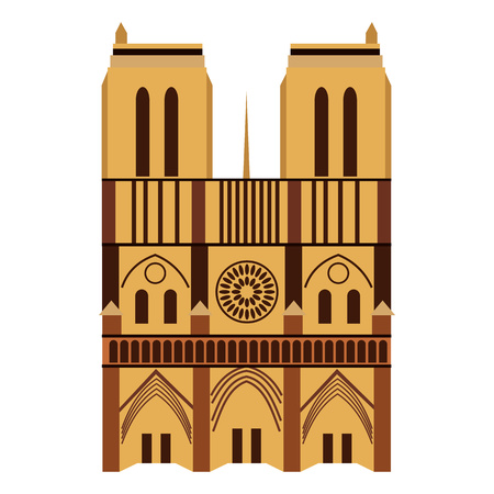 notre dame de paris: Notre Dame de Paris Cathedral, France. Flat style Illustration
