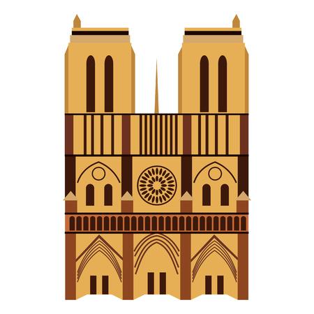 Notre Dame de Paris Cathedral, France. Flat style Illustration