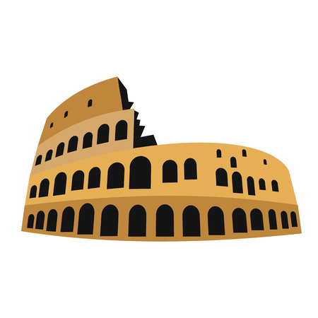 amphitheater: Coliseum in flat style isolated on white background