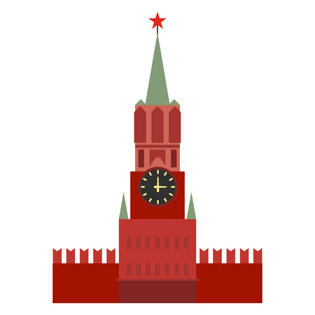 spasskaya: Spasskaya tower in Moscow, Russia. Flat design Illustration