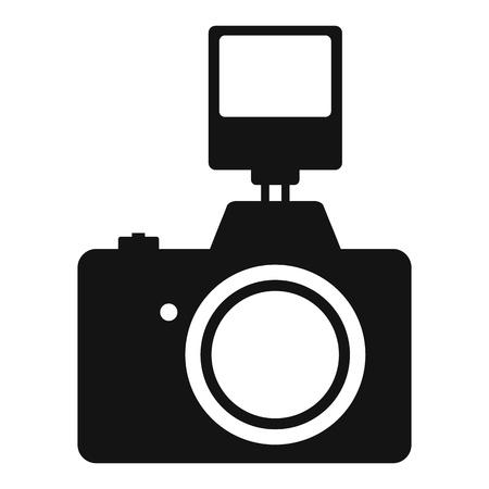 macchina fotografica: Fotocamera con flash semplice icona isolato su sfondo bianco