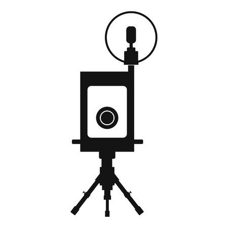 polarizing: Retro camera black icon isolated on white background