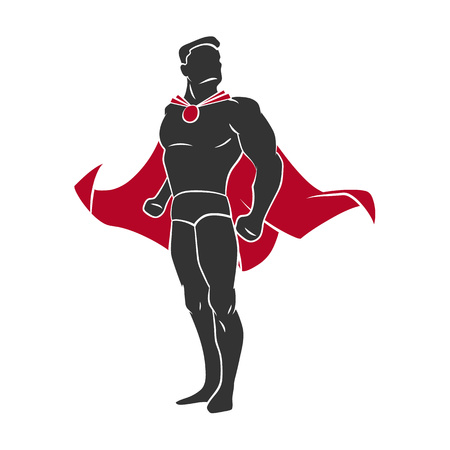 Superhero in comics style isolated on white background