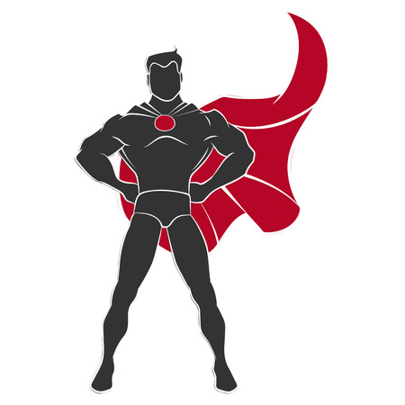 Superhero standing in defensive stance in comics style isolated on white background