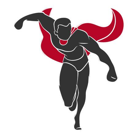 superhero cape: Superhero push forward in comics style isolated on white background