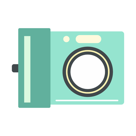 photo printer: Portable camera flat icon isolated on white background Illustration