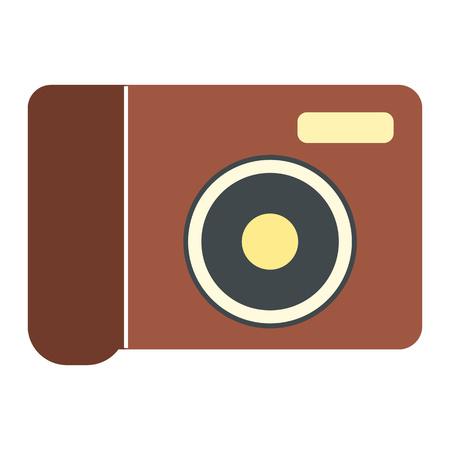 polarizing: New portable camera flat icon isolated on white background Illustration