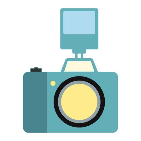 polarizing: Camera with flash flat icon isolated on white background