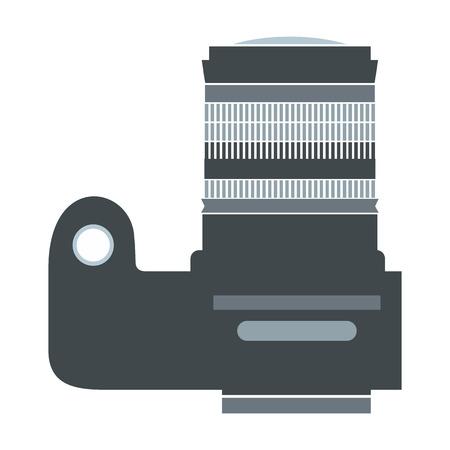 digicam: Professional camera flat, icon isolated on white background