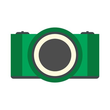 photo printer: Green camera flat icon isolated on white background