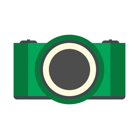 Green camera flat icon isolated on white background
