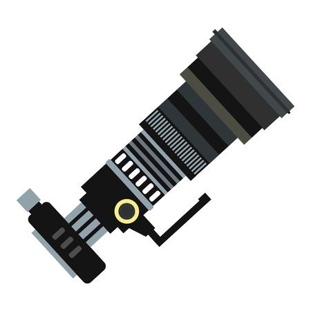 neutral density filter: Professional camera black flat icon icon isolated on white background Illustration
