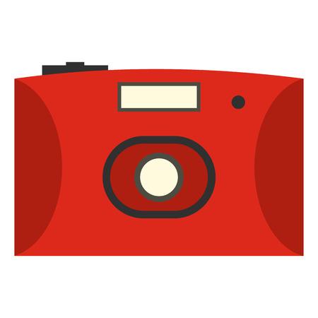 polarizing: Red camera flat icon isolated on white background