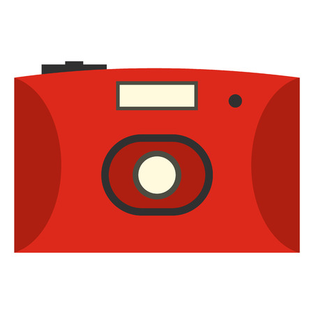 Red camera flat icon isolated on white background