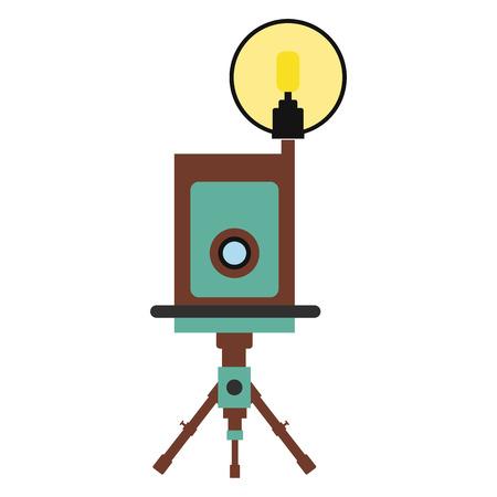 polarizing: Retro camera flat icon isolated on white background Illustration