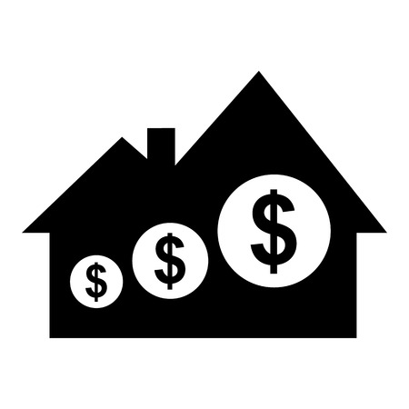 residential neighborhood: Real estate price simple icon isolated on white background