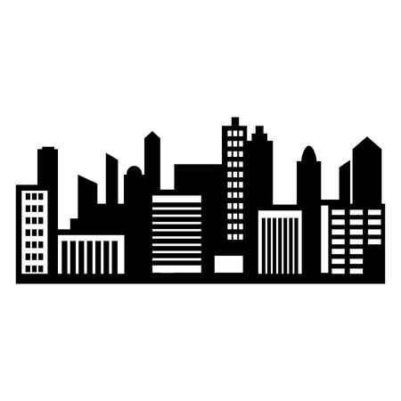 scape: City panorama simple icon, panoramic black city scape