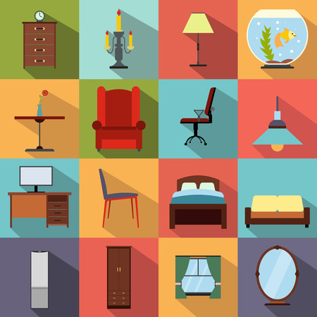 home furniture: Furniture flat icons set. Colored simbols for living room
