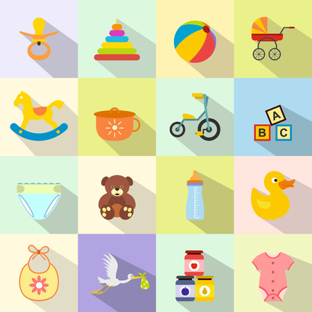 playpen: Baby flat icon set for web and mobile devices