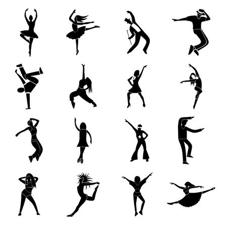 bailando flamenco: Bailando iconos simples establecidos isolatedon fondo blanco Vectores