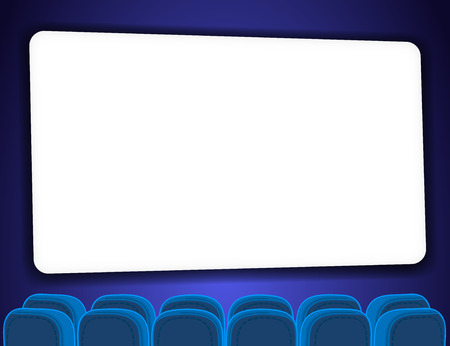 cinema screen: Cinema auditorium with screen and seats. Cartoon style