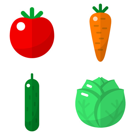 garden peas: Vegetables flat icons set for web and mobile devices Illustration