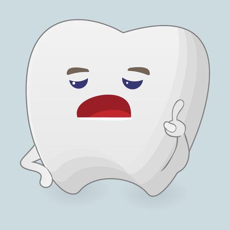 displeased: Illustration of displeased tooth. Cartoon icon on a blue background Illustration