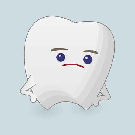 grouchy: Querulous tooth illustration. Cartoon icon on a blue background