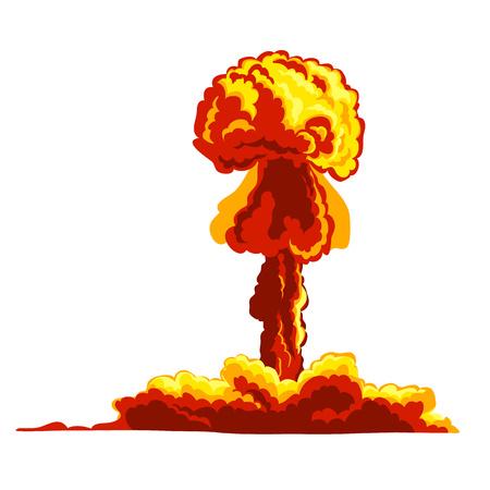 hydrogen bomb: Mushroom cloud. Orange and red illustration on a white background