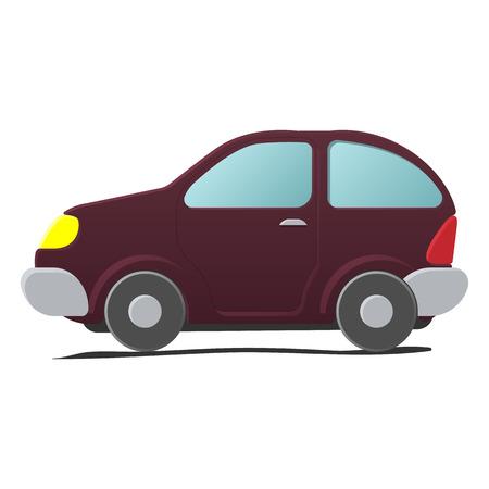 mini car: Cartoon little car. Mini car. Single cartoon symbol on a white background Illustration