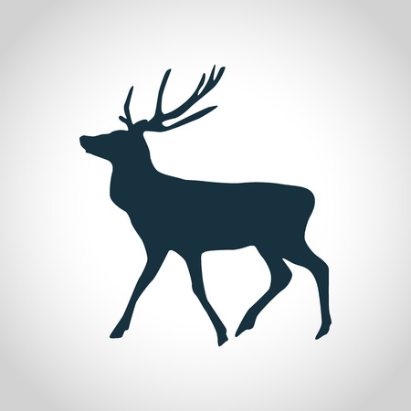 Deer black silhouette for web and mobile devices Illustration